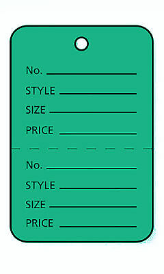 3000 Perforated Tags Price Sale 1 X 1 Two Part Green Unstrung Tag Small
