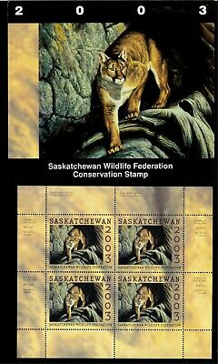SASKATCHEWAN #11M 2003 MONTN LION CONSERVATION STAMP MINI SHEET OF 4 IN FOLDER