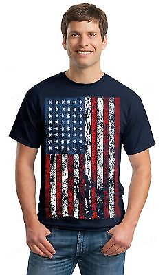 American Flag Distressed T-SHIRT patriotic tattered vintage USA flag men