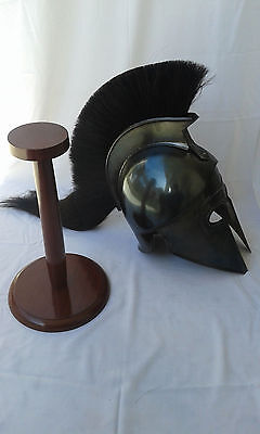 GREEK CORINTHIAN HELMET_BLACK FINISH ACHILLES_BLACK PLUME~ARMOUR HELM