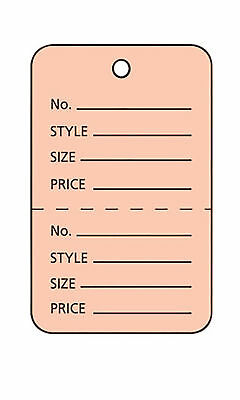 2000 Perforated Tags Price Sale 1 X 2 Two Part Pink Unstrung Tag Peach