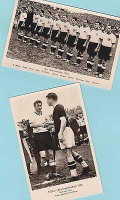 WM Deutschland 1954 - 2 Orig.Fotos 13,8cm x 8,8cm + 4 AK WM Bilder '54 signiert