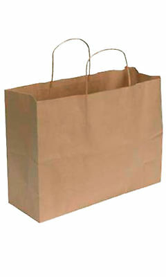 Paper Shopping Bags 100 Large Natural Kraft 16 X 6 X 12 Retail Merchandise