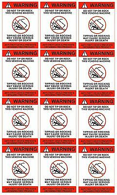 Qty 12 - Soda Machine Safety Decals Do Not Tip Labels - Free Shipping