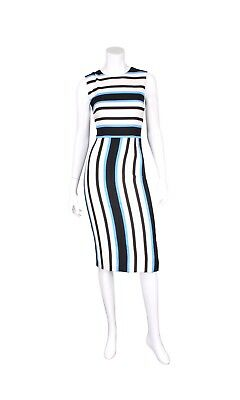 NWT DOLCE & GABBANA Blue, Black, & White Striped Sleeveless Sheath Dress - US 8