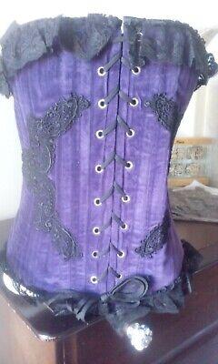 Burlesque,Steel Boned Bustier,Corset , Stunning purple Goth Whitby corset