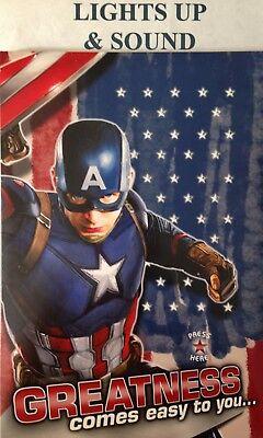 CAPTAIN AMERICA BIRTHDAY CARD SOUND & LIGHTS Great Action card for KIDS - Captain America Birthday Card