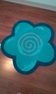 brand new blue flower floor rug