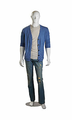 Male Mannequin White Glossy Full Body Metal Base Clothing Display Fiberglass