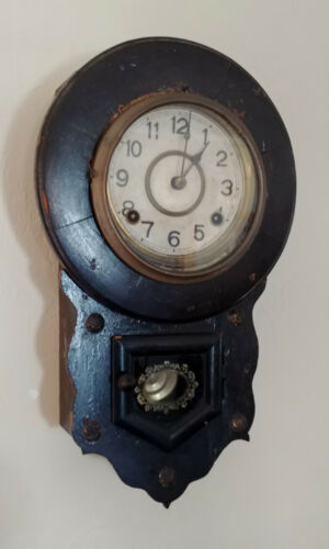 Antique 19th Century Wood Wall Clock, Runs Perfectly
