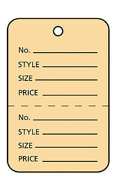 3000 Perforated Tags Price Sale 1 X 1 Two Part Buff Unstrung Tag Small