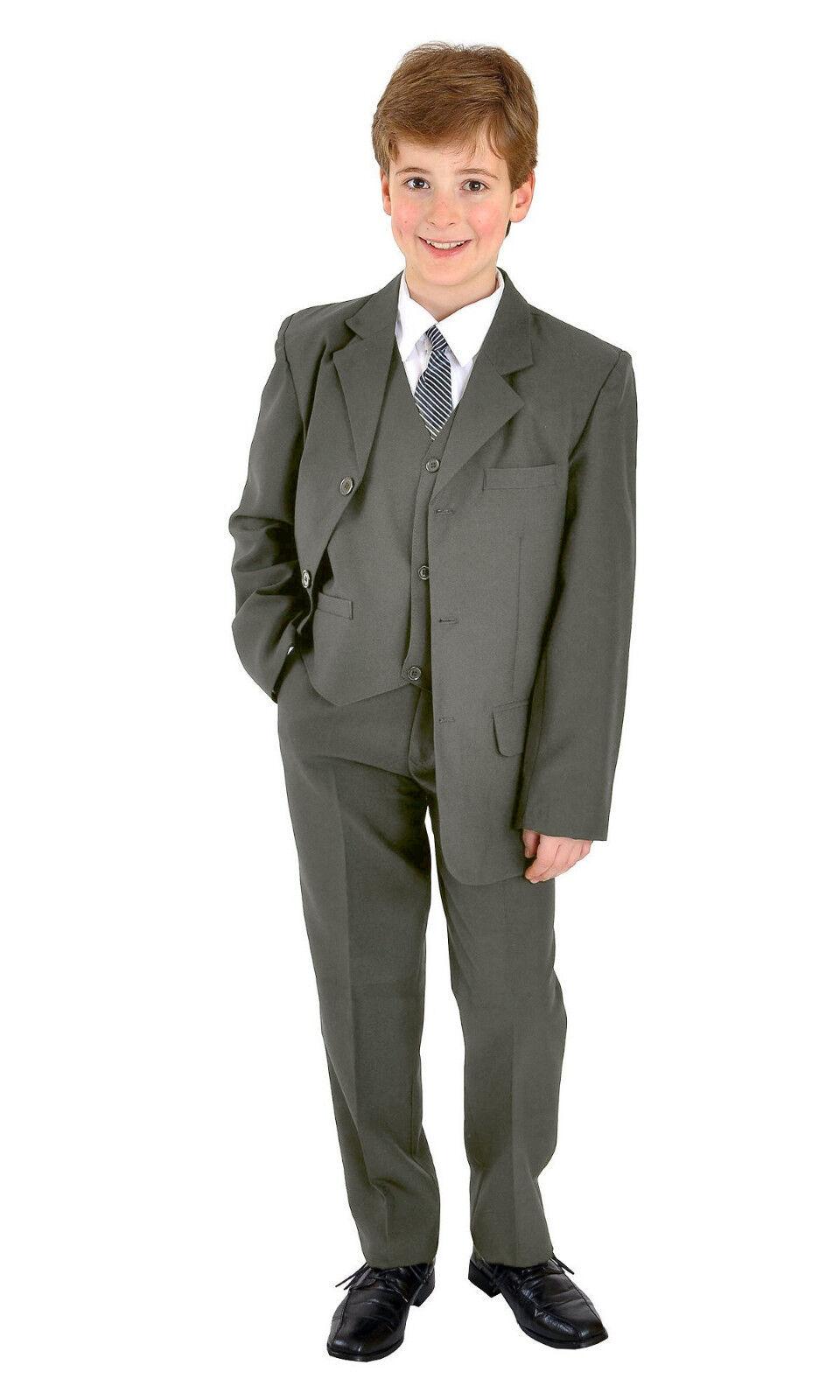 5 teiliger Jungenanzug Kinderanzug Kommunionsanzug Anzug festlich uni dunkelgrau