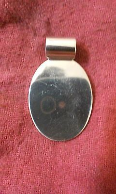 .925 Sterling Silver Oval Tag Engravable Pendant - Free Shipping  ()