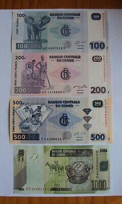 Dem Republic Congo banknotes 100-200-500-1000 francs - different years - UNC