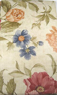 Floral on Beige Vinyl Flannel Back Tablecloths Assorted Sizes Oblong & Round