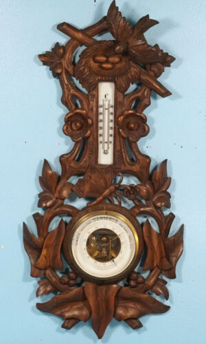 Antique Swiss Black Forest Wood Carved Barometer Thermometer Bird Nest Butterfly