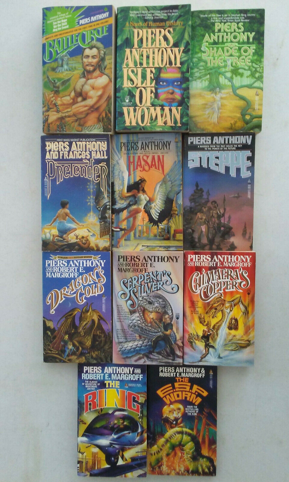 Piers Anthony Paperbacks Lot of 11, Fantasy SF. Priority Mail Shipping