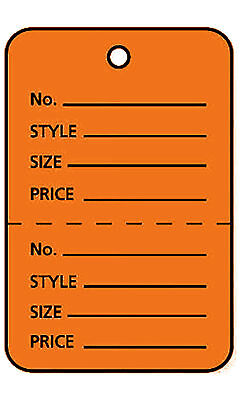 2000 Perforated Tags Price Sale Large 1 X 2 H Two Part Orange Unstrung