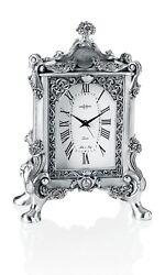 Italian Hand-made Silver Resin Flowers & Horn Of Plenty Table Clock