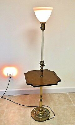 - Vtg STIFFEL BRASS HOLLYWOOD MID CENTURY FLOOR LAMP Wood Tray Milk Shade