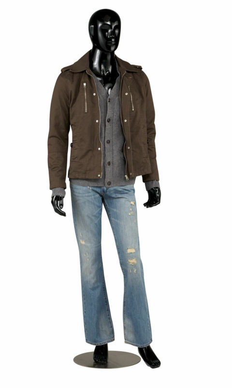 Male Glossy Black Cameo Fiberglass Mannequin - Height 6