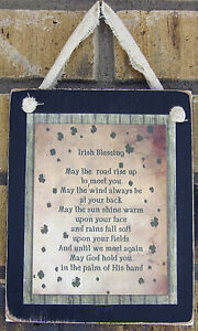 Traditional Irish Blessing Hanging Wall Sign Plaque Primitive Rustic Lodge Cabin