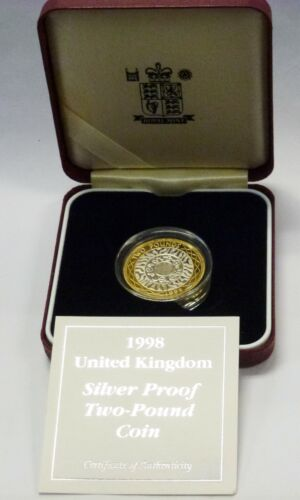 1998 UK Great Britain Silver Proof 2 Pound Coin  w/box COA  Gold Gilded