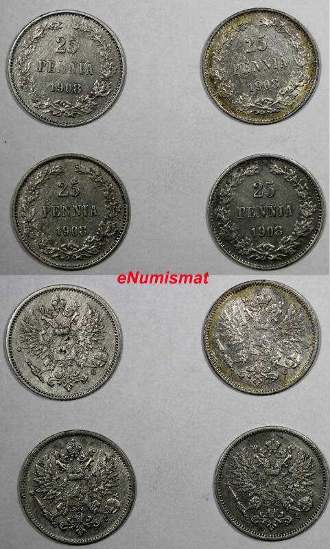 Finland Nicholas II Silver LOT OF 4 COINS 1908 25 Pennia Mintage-340,000 KM# 6.2