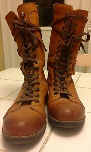 Tall Brown Leather Lace-Up Boots Size 40 (9.5) Peterborough Peterborough Area image 2