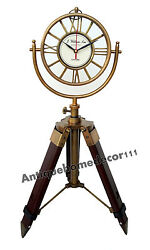 Vintage Desk Top Table Brass Clock on Tripod Decorative Antique Mantel Clock