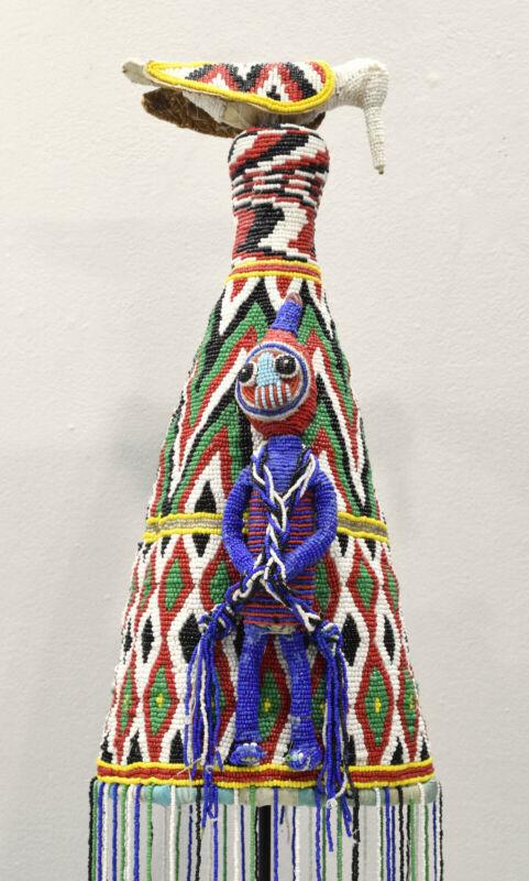 African Yoruba Beaded Blue Figure Crown