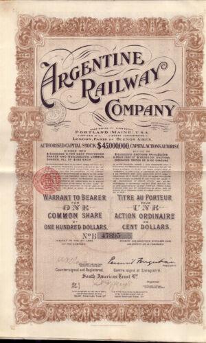 Original Argentina USA 6% Bond 1912 Argentine Railway $100 Uncancelled coupons
