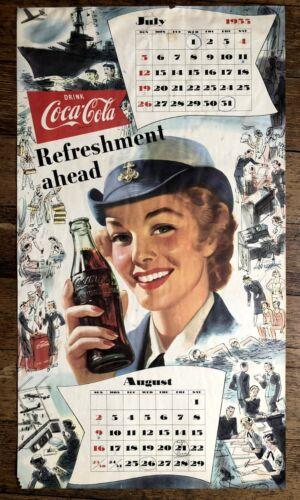 July - August 1953 Coca Cola Calendar w/ Military Woman Drinking Coke