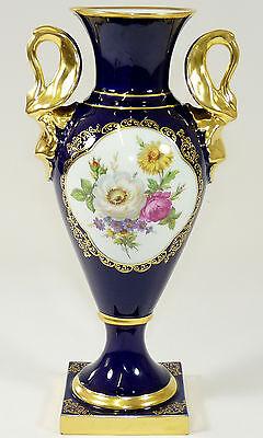 LINDNER - Vase AMPHORENVASE Amphore - KOBALT-BLAU Gold Blumen - BAVARIA - 29,5cm
