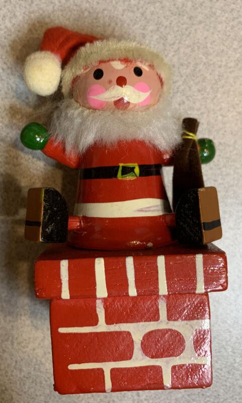 Vintage Santa Claus Sitting on Chimney Pencil Sharpener Christmas Holiday Toy