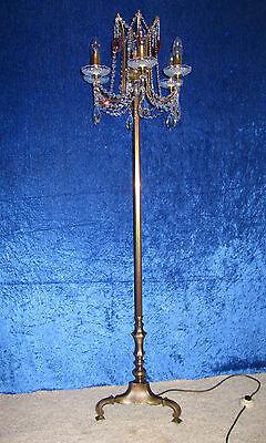 Wunderschöne Messing-Bleikristall Stehlampe Höhe 1,50 m