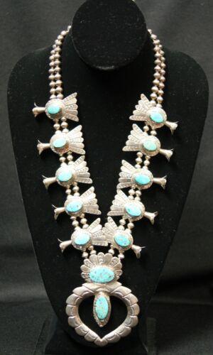 Juan Pedro Garcia Silver Squash Blossom Necklace W/ Turquoise Stones