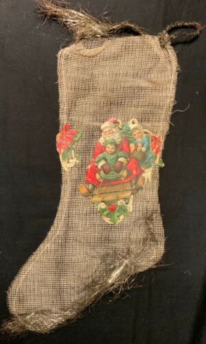 ANTIQUE MESH CHRISTMAS STOCKING WITH EMBOSSED DIECUTS & TINSEL!