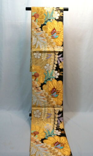 "Japanese Kimono SILK Fukuro OBI, Zentu ,Gold, Butterfly & SAKURA,L173"" ..1991"