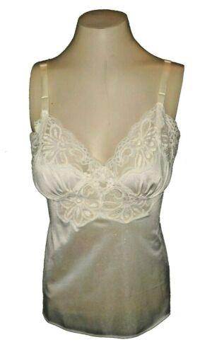 vintage 1960s Cami Camisole Shadowline Nylon Lace Ivory 34