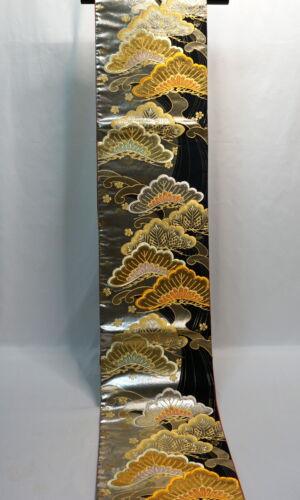 "Japanese Kimono SILK Fukuro OBI, Rokutu ,Gold thread, Pine , Black,L173""..2035"