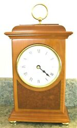 English Mantel Clock; NIB: Quartz: Solid Cherry Case; Yew Veneer: Burr Inlay