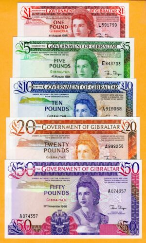 Gibraltar Set UNC £1 to £50 5 Banknotes 1986 - 1988 P-20 to P-24 QEII Banknote