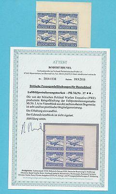 WKII Kriegsfälschung   Nr. 27  Eckrandviererblock   Attest   luxus   **  !!