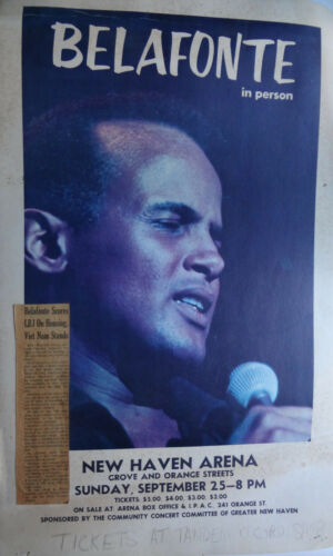 ORIGINAL HARRY BELAFONTE  CONCERT POSTER - NEW HAVEN SEPTEMBER 25,1966