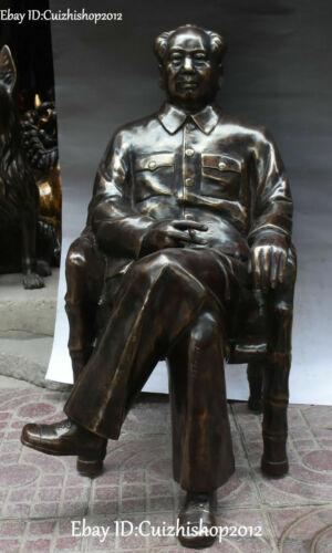 "28"" China Bronze Leader Mao Zedong Chairman Tuxedo Seat Chair Celebrity statues"