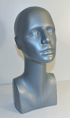 Young Female Plastic Mannequin Grey Head Display 15 Tall Approx. Full Size