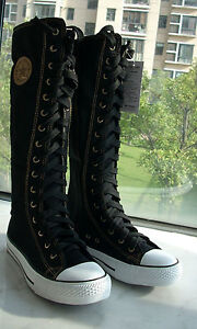 Women Black Punk EMO Rock Gothic zipper Lace up boot shoe sneaker knee high