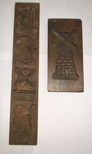 """VTG Primitive Carved Wood Cookie Mold Holland Dutch Windmill 7.5"""" Animals Lot"""