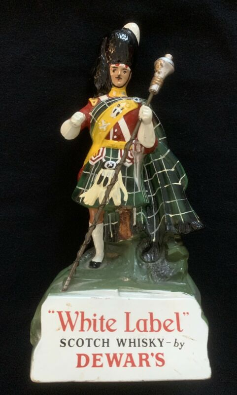 Vintage White Label Dewars Scotch Whiskey Advertising Figurine Rubberoid Statue!